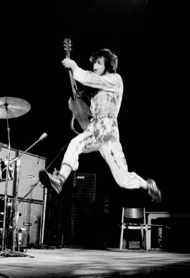 COPENHAGEN, DENMARK - SEPTEMBER 20: Pete Townshend of The Who leaps in the air on stage at Falkoner Centret in Copenhagen, Denmark on 20th September 1970. (Photo by Jorgen Angel/Redferns)