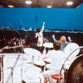 The Who perform on stage at the Fete de l'Humanite music festival, Paris, 9th September 1972, L-RR Pete Townshend, Keith Moon, Roger Daltrey. (Photo by Michael Putland/Getty Images)